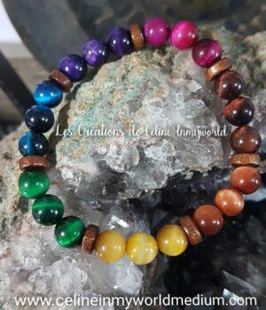 Bracelet de protection, 7 chakras en Oeil-de-tigre et Oeil-de-taureau (2)