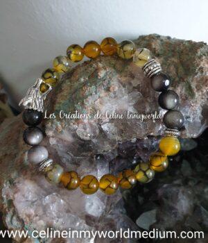 Bracelet de protection contre le stress et les attaques spirituelles, en Agate veines de dragon et Obsidienne argentée