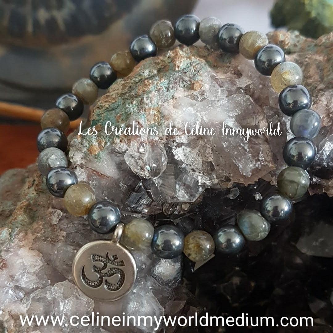Bracelet pour fortifier les dons médiumniques et renforcer la volonté, en Labradorite et Hématite avec symbole AUM
