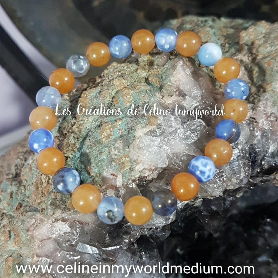 Bracelet pour la confiance en soi et la sérénité, en Aventurine orange et Agate à signature d'inflammation