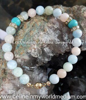 Bracelet pour se défaire du stress et se protéger des influences extérieures, en Morganite et Turquoise avec fermoir magnétique